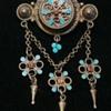 Vintage or Antique Norwegian 830 silver gilt & enamel dropper brooch