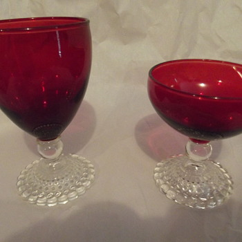 Anchor Hocking Bubble (early american) Ruby Water Goblet & Anchor Hocking bubble (Early American)Ruby Sherbet - Glassware