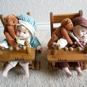 Antique Procelain Boy & Girl - Dolls