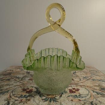 Victorian Glass Basket  - Art Glass