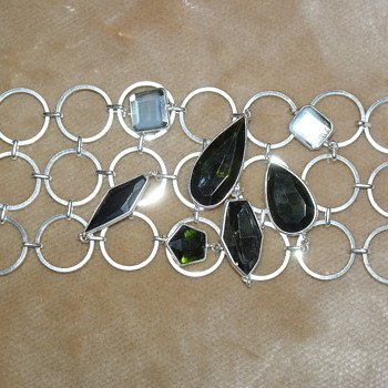 Unusual Costume Bracelet with Glass Stones and Mother of Pearl - Costume Jewelry