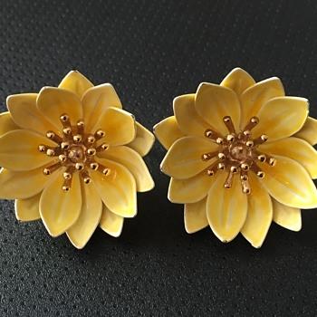 Trifari Enamel Flower Earrings - Costume Jewelry