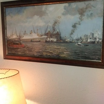 rare 1920/30's Dutch harbor painting of the Holland American lines building - Fine Art
