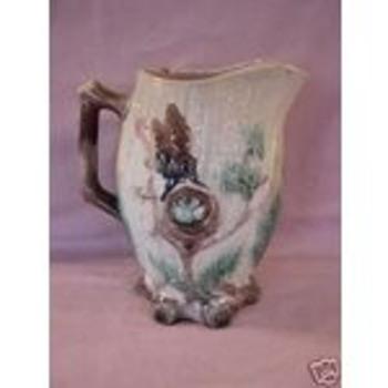 Vintage Mayer Pottery Birds Nest Majolica Pitcher  - Pottery