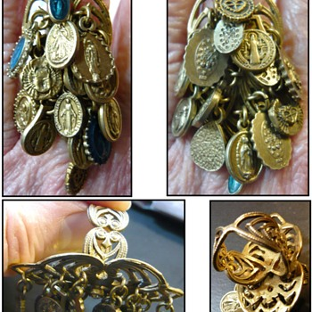 Catholic multiple medal saint ave maria ring - Fine Jewelry