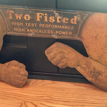 "1932 Sun Oil Company ""Two Fisted"" Embossed Sign - Petroliana"