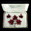1966-1967 Sherman Siam Red, Japanned Triple Maple Leaf Pin, Canada Centennial