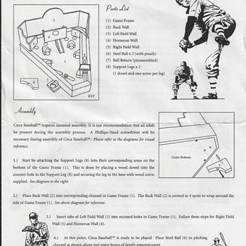 Original Circa Baseball Game - Coin Operated