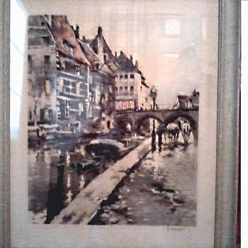 "French Original Tinted Etching ""Quay on the River Dyle"" by Ferdinand Jean Luigini /Sidney Z. Lucas Trademark /Circa 1920's 30's - Posters and Prints"