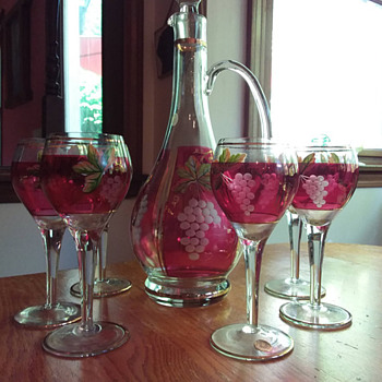 Cranberry Flash Etched and Handpainted Romanian Crystal Decanter & Wine Glasses
