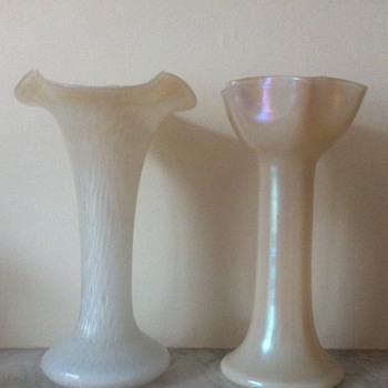 Two Kralik mother of pearl glass vases  - Art Glass