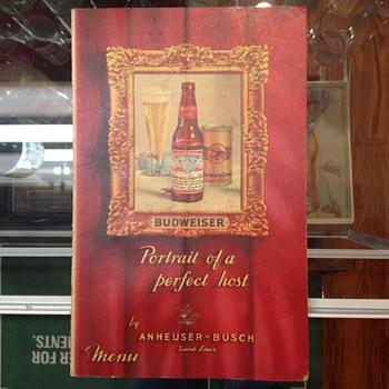 Budweiser 1950's menu - Breweriana