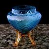 Kralik Blue Opalescent Herringbone Tripod Vase