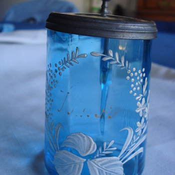 ANTIQUE ART GLASS BLUE MARY GREGORY BEER STEIN - Breweriana