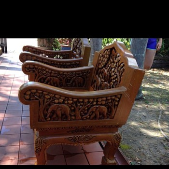 My low wide carved chairs - Furniture