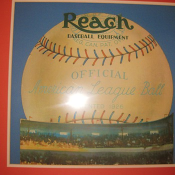 1926 Reach Official American League Ball Die-Cut advertising display