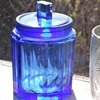 Blue faceted jar