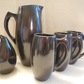 "Vintage Pottery Pitcher Mugs And Creamer With ""Marilyn"" Bottom Mark - Kitchen"