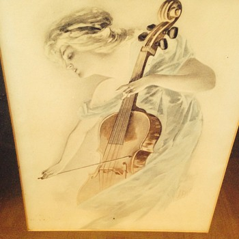 Lady playing cello - Fine Art