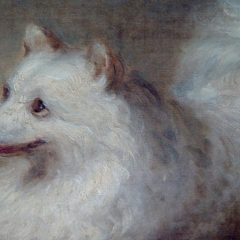 George Augustus Baker, Jr. Signed Oil Painting Of A Spitz Dog Date appears to be 1852  31X26 - Fine Art