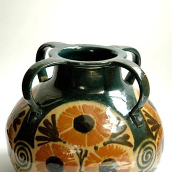 huge french art nouveau art pottery vase by LEON ELCHINGER - Art Deco