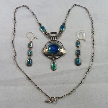 Murrle Bennett Jugendstil Silver & Enamel Necklace & Earrings - Thanks to Cathy Gordon - Fine Jewelry
