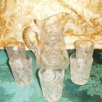 Czechoslovak lead crystal pitcher and 5 glasses
