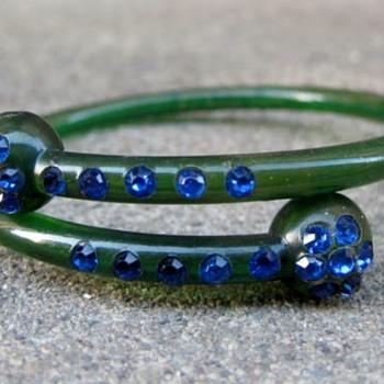 Celluloid bracelet w/rhinestones - Costume Jewelry