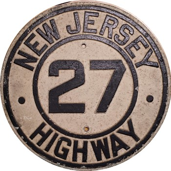 Late 1920s Cast Aluminum NJ Highway 27 Shield - Signs