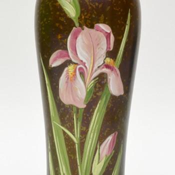 Bohemian enameled iris vase - Art Glass