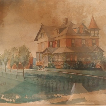 Water color of my old house - Fine Art