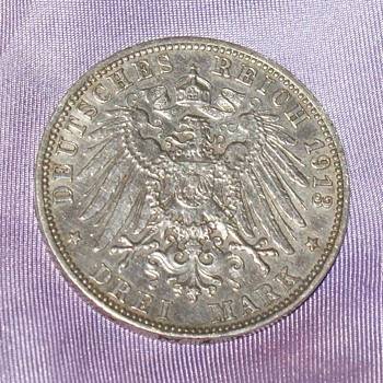 100 Years Old Silver Coin -3 Deutsche Mark - World Coins