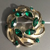 Coro Emerald Crystal Brooch