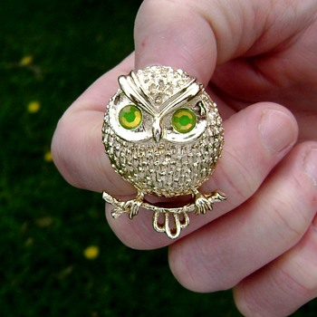 Sarah Coventry Owl Brooch - Hooter - Costume Jewelry