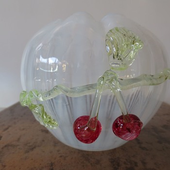 Art Glass Bowl/Vase with applied cherries and leaves - Art Glass