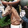 very heavy cement horse head