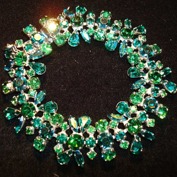 Dazzling Emerald Green and Aqua Blue Sherman Bracelet - Costume Jewelry