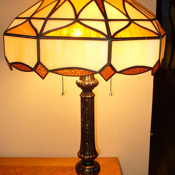 Stained Glass Lamp...Caramel slag...Mexican - Lamps