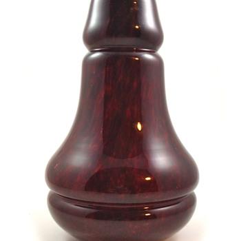 Kralik Mottled Blood Red Vase, ca. 1930s - Art Glass