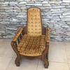 Antique Wooden Spindle Chair with gold spade upholstery