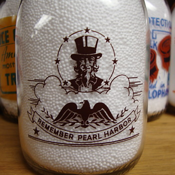 RARE***AUTHENTIC***REMEMBER PEARL HARBOR pint milk bottle...McVeigh Dairy Co...Chicago, Illinois - Bottles