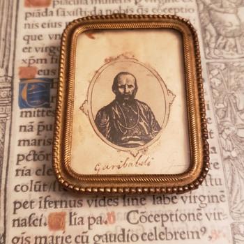 Signed/Autographed Giuseppe Garibaldi ? Woodcut Engraving In Mini Frame Under Glass - Fine Art