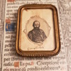 Signed/Autographed Giuseppe Garibaldi ? Woodcut Engraving In Mini Frame Under Glass
