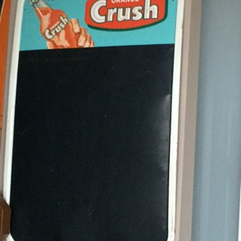 VINTAGE ORANGE CRUSH CHALKBOARD AND THERMOMETER ADVERTISING SIGNS - Advertising