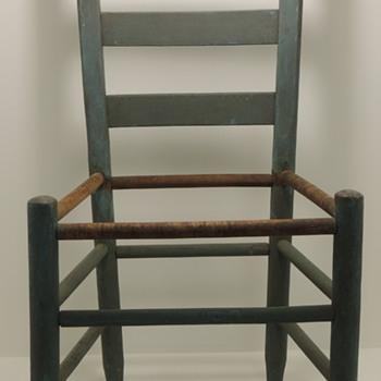 Ladderback Chair  in a blue/green milk paint - Furniture