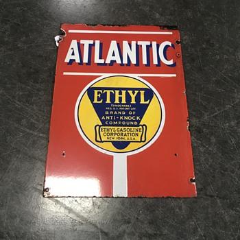 Atlantic gasoline pump plate  rare ethyl  - Petroliana
