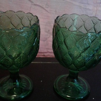 Green glass goblets, ruffled edge - Glassware