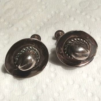 Sterling cowboy hat clip on earrings - Fine Jewelry