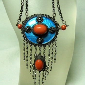 Antique Arts and Crafts Enamel and Coral Necklace