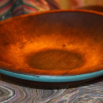 Old Munising Bowl with a Blue Painted Rim - Kitchen